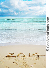 美しい, サイン, 年, 2014, 浜, 光景