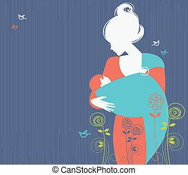 美しい, シルエット, 吊包帯, 赤ん坊, 背景, 母, 花