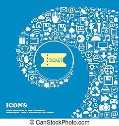美しい, セット, 中心, アイコン, twisted, らせん状に動きなさい, 1(人・つ), 大きい, ベクトル, すてきである, icon., 印, 切符, アイコン