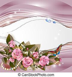 美しい, ピンクの背景, バラ