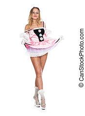 美しい, ピンク, 女の子, 服