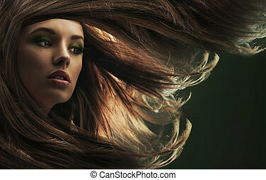 美しい, ブラウンの 毛, 女性, 長い間