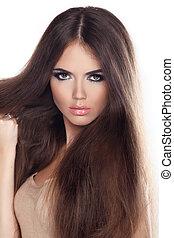 美しい, ブラウン, 女, 長い間, ファッション, ポーズを取る, hair., 肖像画, クローズアップ, モデル, studio.