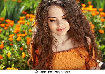 美しい, ブルネット, hairstyle., 美しさ, 健康, hair., 長い間, 波状, portrait., 屋外で, woman.