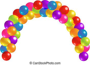 美しい, ロット, balloon, 弧, 透明度