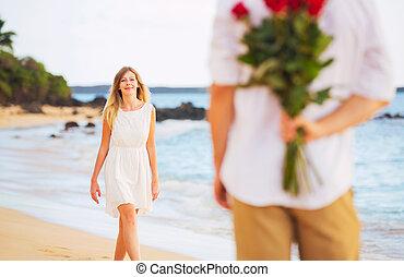 美しい, ロマンチック, 花束, 愛, 恋人, 若い, ばら, 保有物, 日付, 驚き, 女, 人
