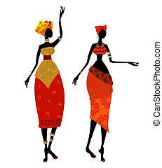 美しい, 伝統的である, 女, 衣装, アフリカ