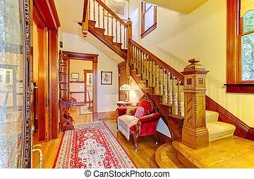 美しい, 入口, 古い, 家, amecian, 木, staircase.