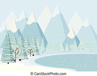 美しい, 冬, 凍らせられた, 木, lake., 雪, 風景, 背景, クリスマス, 山, spruces
