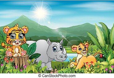 美しい, 別, 動物, 漫画, 風景