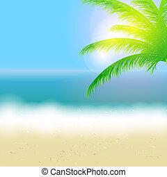 美しい, 夏, 浜, 太陽, 木, イラスト, ベクトル, やし, 背景, 海