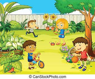 美しい, 子供, 遊び, 自然