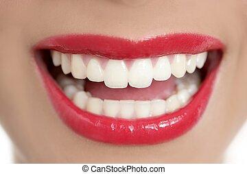 美しい, 完全, 女, 歯, 微笑