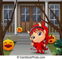 美しい, 小悪魔, ∥髪をした∥, 漫画, 赤