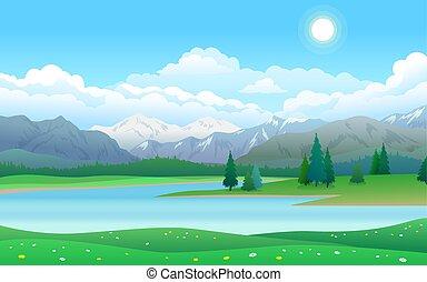 美しい, 山, 湖, 森林, 風景