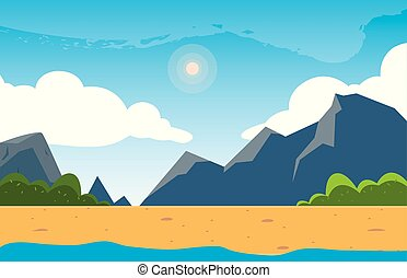 美しい, 山, 現場, 風景, 湖