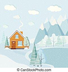美しい, 平ら, 冬, 雪が多い, 家, 木, 湖, 現場, デザイン, 風景, 雲, 田園, クリスマス, 山, spruces