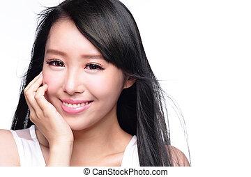 美しい, 微笑, 女性の表面