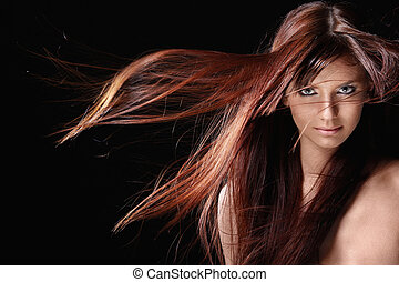 美しい, 毛, 女の子, 赤