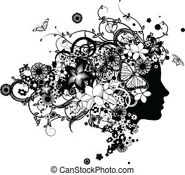 美しい, 毛, 花, 女, 作られた