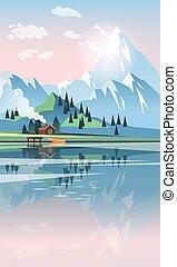 美しい, 湖, ベクトル, 風景, 山