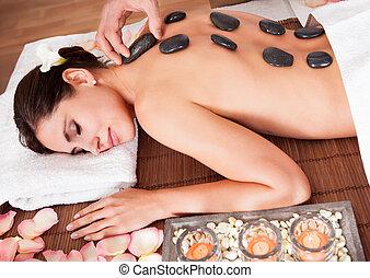 美しい, 石, 女, 得ること, 若い, 暑い, 療法
