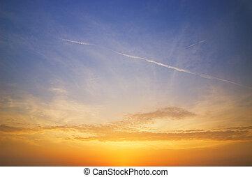 美しい, 空, 日没, 時間