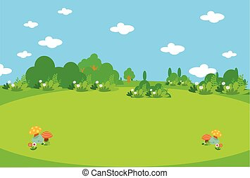美しい, 緑の採草地, mushroo
