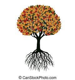 美しい, 色, 木。, illustration., ベクトル