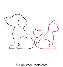 美しい, 薄くなりなさい, ねこ, 線, 犬, アイコン