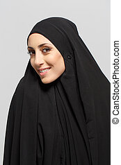 美しい, 見る, 女, カメラ, muslim