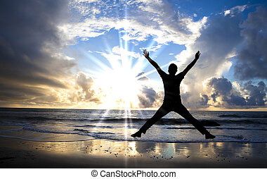 美しい, 跳躍, 幸せ, 浜, 日の出, 人