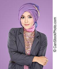 美しい, 身に着けていること, 女性の 肖像画, hijab