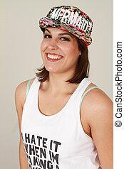 美しい, 身に着けていること, 白い帽子, 女性
