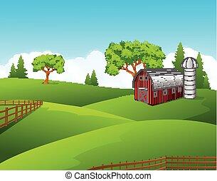 美しい, 農場, 風景, 背景