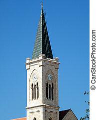 美しい, 都市, 古い, jaffa, franciscan, 教会, タワー