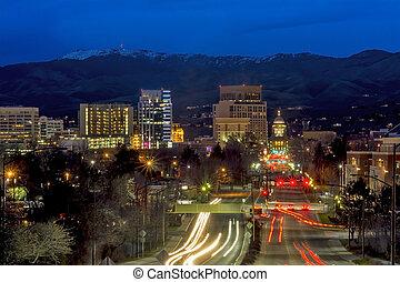 美しい, 都市, 大通り, boise, 資本, アイダホ