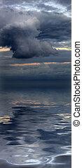 美しい, cloudscape, evocative, 水反射