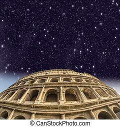 美しい, colosseum, 光景, rome., 夜