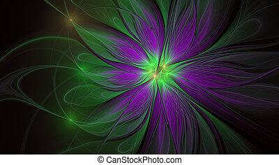 美しい, flower., ファンタジー, フラクタル, バックグラウンド。, 芸術的, 光沢がある, 未来派