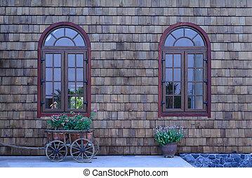 美しい, garden., 窓, 型, 壁, 小さい, 木製である