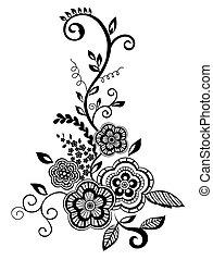 美しい, guipure, 白黒, 要素, embroidery., デザイン, イミテーション, 花, 花, 葉, element.