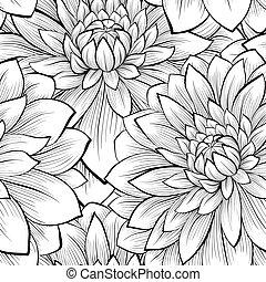 美しい, seamless, 黒い背景, モノクローム, 白い花