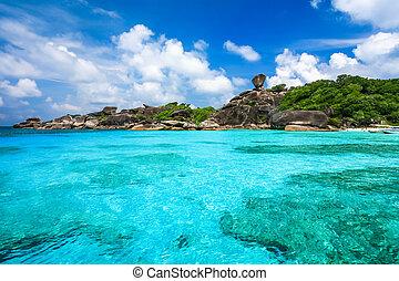 美しい, similan, 島, ゆとり, トロピカル, 水晶, andaman の 海, 海, タイ, 浜
