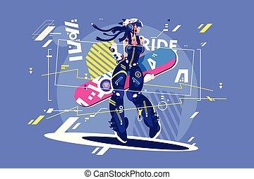 美しい, snowboard, 女の子, スポーツウェア