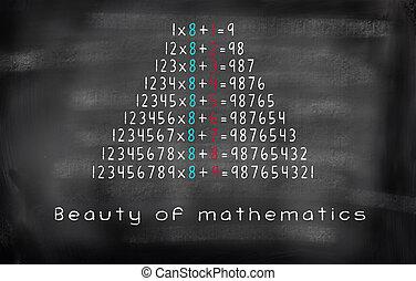 美しさ, 黒板, 方程式, 数学, 乗算