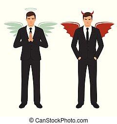 翼, 悪魔, よい, 選択, ひどく, 天使, 角, 漫画, ハロー