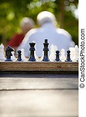 老人, 公園, 2, チェス, 活動的, 引退した, 友人, 遊び