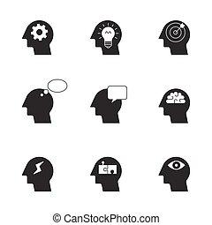 考え, アイコン, プロセス, 人間