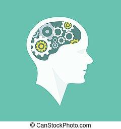 考え, プロセス, 頭, ブレーンストーミング